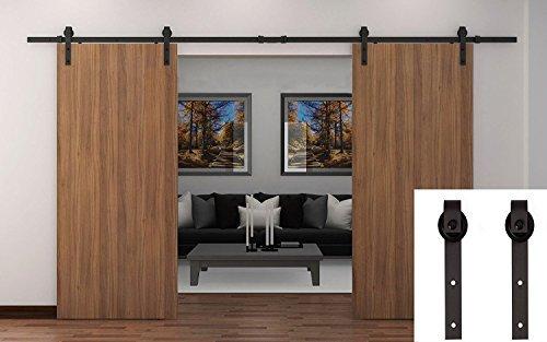 TCBunny 43188-258612 13' Black Country Barn Wood Steel Sliding Door Hardware Set Antique Style, Double Doors, Steel
