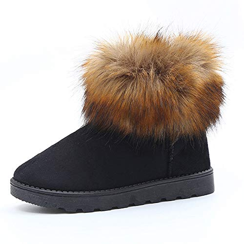 LONGDAY ⭐ Women's Short Snow Boot Mid Calf Boots Cow Leather Faux Fur Tassel Winter Snow Boot Suede Flat Ankle Boots