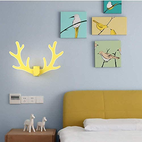 MOCHENG Wall Sconce Lights Corridor Corridor Stairs LED Antler Wall Lamp Wrought Iron Acrylic Creative Bedside Lamp,Yellow