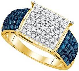 10kt Yellow Gold Womens Round Blue Colored Diamond Rectangle Cluster Ring 1.00 Cttw