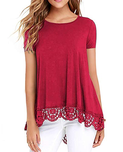 ZEGOLO Women's Tops Short Sleeve Lace Trim O-Neck A-Line Casual Tunic Blouses for Leggings Red Small ()