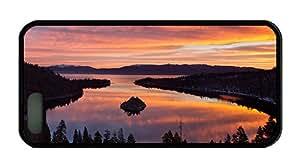 Cool iphone 5S customize cases USA California Lake Tahoe morning scenery trees sunrise TPU Black for Apple iPhone 5/5S