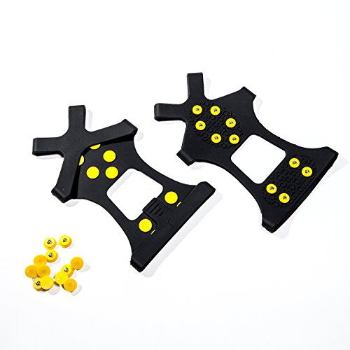 Carryon Ice Grips, Traction Cleats, Ice Cleats Snow Grips, Snow Cleats for Men and Women+Extra Replacement Studs (Large)