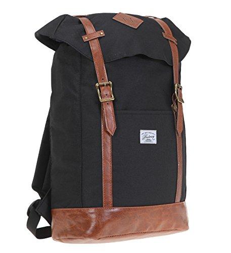 BESTWAY Rucksack Vintage SERIES Sportrucksack mit Laptopfach 35 x 25 cm + Ledermäppchen (Black / Brown)
