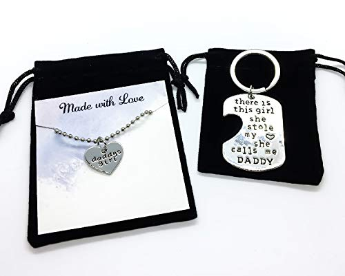 Daddys Girl Stole My Heart Daughter Keychain Necklace Set for 2