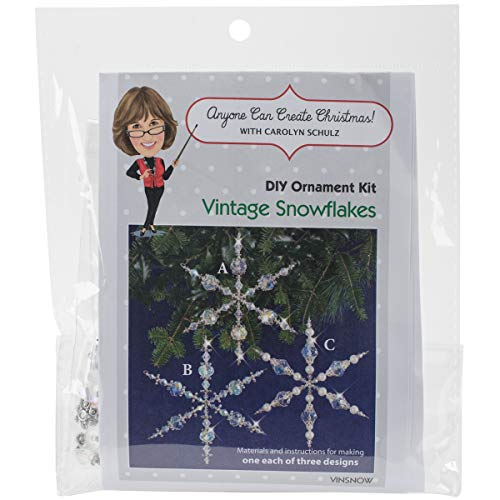 Snowflake Ornaments Beaded (Solid Oak Kit Beaded Ornament Vintage Snowflakes ORN Vintagesnowflake)