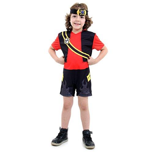 Zak Storm Pop Infantil 15420-G Sulamericana Fantasias Preto/Vermelho G 10/12 Anos