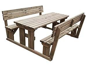 Alders adjunta de madera asiento de banco de mesa de picnic Set con respaldo–6ft–rústico marrón–Heavy Duty–muebles de jardín hecho a mano en el Reino Unido–tratada a presión