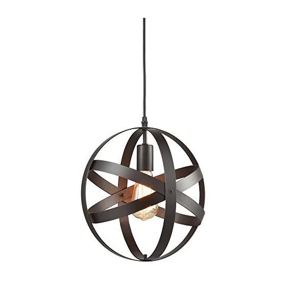 Truelite Industrial Metal Spherical Pendant Displays Changeable Hanging Lighting Fixture - Vintage sytle metal globe pendant lighting;shade dimension: 11.81'' in diameter,11.81'' in height, 47.24'' in cord Its open-air design showcases the illumination from the bulb, adding its trendy appeal ETL listed;E26 based(bulb not included); Fully dimmable when used with a dimmer bulb and compatible dimmer switch(not included) - kitchen-dining-room-decor, kitchen-dining-room, chandeliers-lighting - 41N 7hOolhL. SS570  -