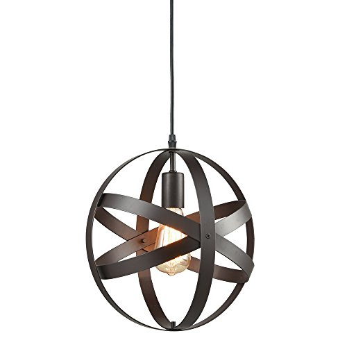 Truelite Industrial Metal Spherical Pendant Displays Changeable Hanging Lighting Fixture (Light Hammered Pendant Metal)