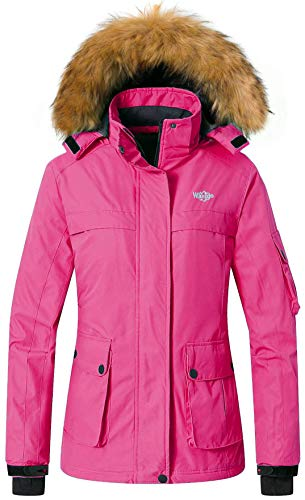 Wantdo Women s Winter Ski Jacket Mountain Rain Resistant Coat Windproof  Winter Thick Windcheater Hoodie for Riding(Rose Red 0d4af3edb