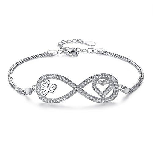EVER FAITH 925 Sterling Silver CZ Romantic Big Figure 8 Infinity Love Heart Bracelet Chain Clear (Bracelet Style Victorian Heart)