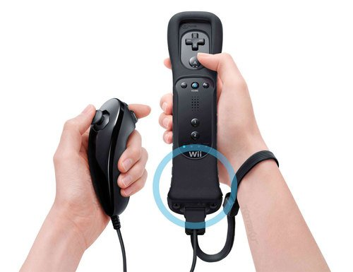 Official Nintendo Black Wii Remote Controller with MotionPlus and Black Wii Nunchuk Bundle