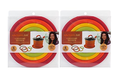 Rachel Ray Cast Iron - Rachael Ray Silicone Multicolor Concentric Circle Trivets, Non-Slip Silicone, Heat Resistant up to 500 degrees F - 2 Sets