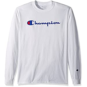 Champion Men's Classic Jersey Long Sleeve Script T-Shirt, White, LG