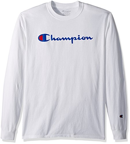 Champion Men's Classic Jersey Long Sleeve Script T-Shirt, White, Sm