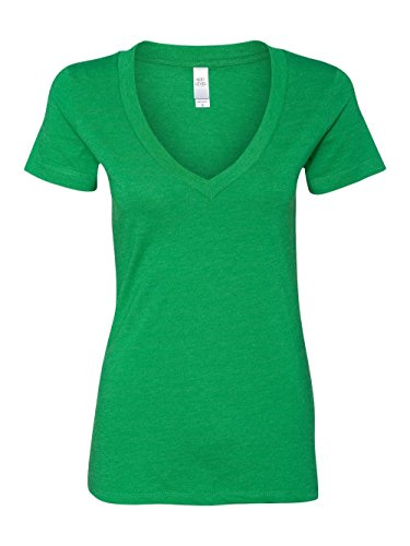 Next Level Apparel Women's CVC Deep V-Neck T-Shirt, Kelly Green, (Green Womens V-neck T-shirt)