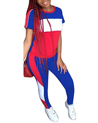 (Women's 2 Piece Outfits - Color Block Stripe Short Sleeve Round Neck Top Skinny Long Pants Tracksuit Set Royal Blue Large )