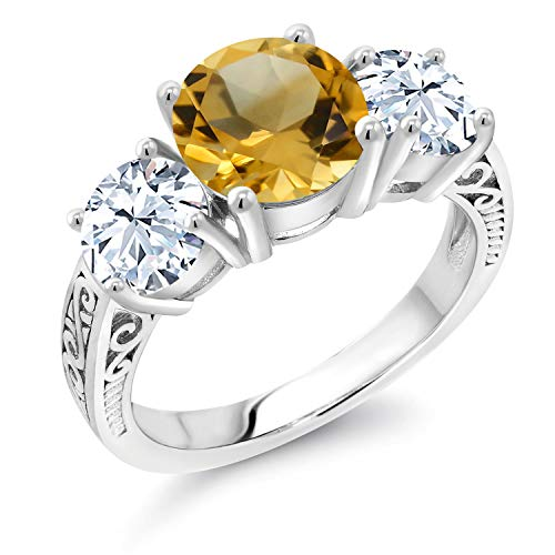 Gem Stone King 3.50 Ct Round Yellow Citrine White Created Sapphire 925 Sterling Silver Ring (Size 7) (Sapphire Ring Citrine)