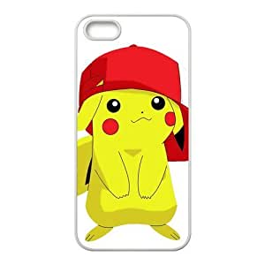 5s Case, iPhone 5 5s Case - Fashion Style New Pokemon Pikachu Painted Pattern TPU Soft Cover Case for iPhone 5/5s(Black/white)