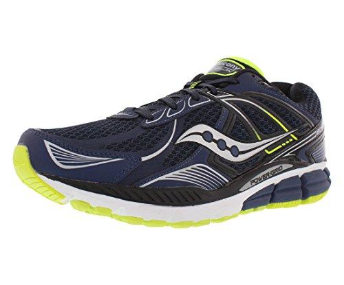 Saucony Men's Echelon 5 Wide Running Shoe, Navy/Black/Citron,7 W US