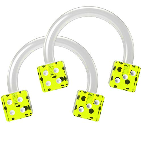 Bling Unique 2pc 16g Cute Dice Circular Barbell Piercing Horseshoe Septum Cartilage Tragus Flexible Green 8mm
