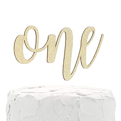 NANASUKO 1st Birthday Cake Topper - one - Double Sided Gold Glitter - Premium Quality Made in USA (Purdue Cake Topper)
