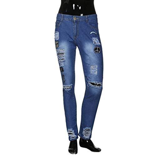 Sottile Fitness Cartoon Moda Sport Ricamo Pantaloni Skinny Denim Rip Lichtblau Lunghi Abiti Fibbia Taglie Jeans Pants Comode Frayed Distressed Uomo Biker qp0vw5Tp