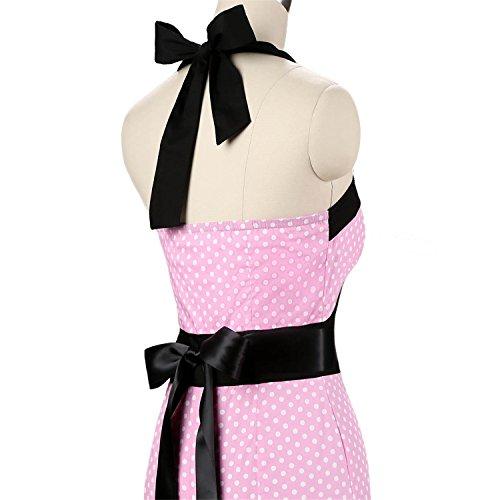 vkstar® Vintage 50s cuello halter corto sirena hips-wrappe Bodycon lápiz para cóctel vestidos Cap manga con cinturón 066 Rosa