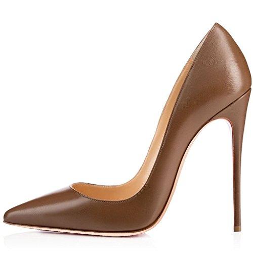 Fête EDEFS Femmes Chaussures Bout Haut Soir Talon Escarpins Sexy Pointu Marron Élégant Chaussures gBqwvCg
