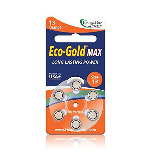 Eco-Gold Max Hearing Aid Batteries Size 13 (36 total batteries)
