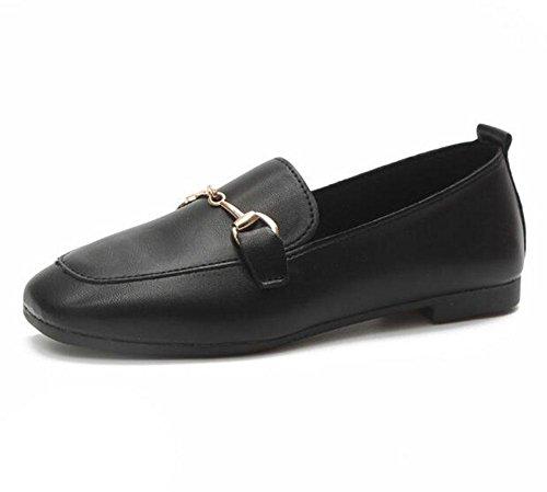 salvaje EU38 KUKI cuadrados 5 de 5 CN38 hebilla Zapatos UK5 negros US7 negra 2 planos zapatos 77rUq8R