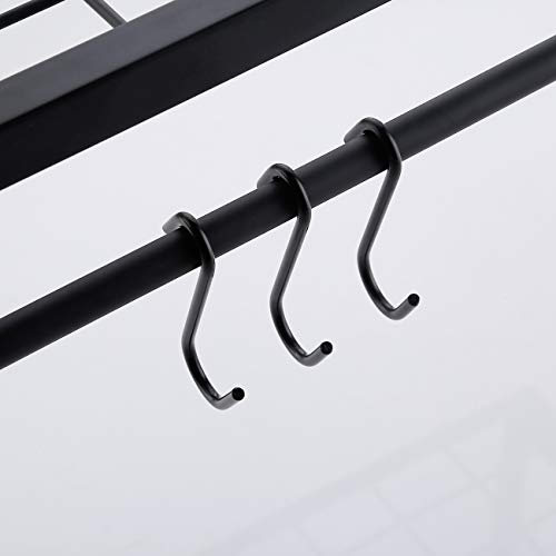 KES 30-Inch Kitchen Pan Pot Rack Wall Mounted Hanging Storage Organizer 2-Tire Wall Shelf with 12 Hooks Matte Black, KUR215S75B-BK by Kes (Image #6)