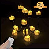 LED Tealight Candles, Flameless LED Tea Lights Candle, Aottom 24 Packs Tears Yellow Lights Battery Operated Flickering Fake Candles with Remote Control for Halloween, Christmas, Celebration Decoration