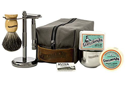 Gentleman Jon Deluxe Wet Shave Kit | Includes 8 Items: Safety Razor, Badger Hair Brush, Shave Stand, Canvas & Leather Dopp Kit, Alum Block, Shave Soap, Stainless Steel Bowl and Astra Razor Blades