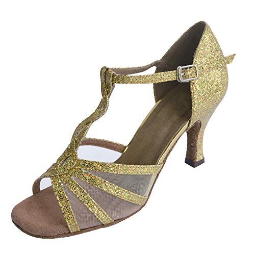 Jig Foo Sandales Open-toe Latine Salsa Tango Chaussures De Danse Piste Pour Femme Avec Talon 7cm Doré