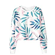 OWMEOT Women's Casual Floral Print Long Sleeve Pullover Tops -Round Neck Sweatshirt Blouse