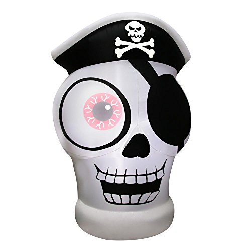 Gemmy 5 Ft. Inflatable One-Eyed Pirate Skull Outdoor Halloween Decoration