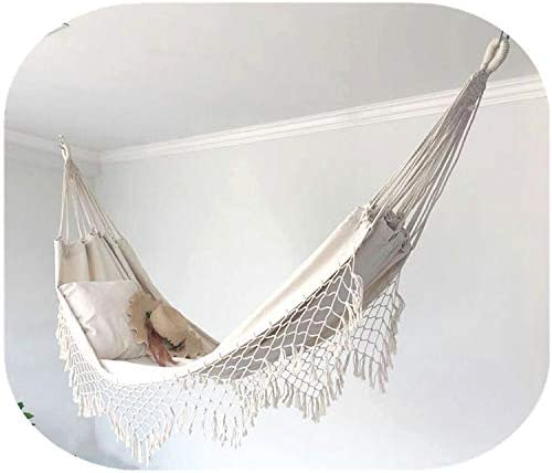 N//A Ivory White Canvas Hammock L78.7x W59inches Hammock Boho Tassel Double Hammock Two Person Bed for Backyard Porch Outdoor Indoor