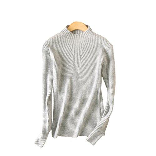 Hand Knit Wool Sweater - Always Pretty Women's Slim Long Sleeve Wool Knit Jumper Pullover Sweater Grey M
