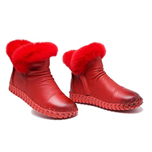 Soft 35 Soles Ankle Leather Casual Female Thicker RED Warm Cotton Plush Heel Flat Lazy Boots Handmade Shoes Pregnant RqwqcgTt