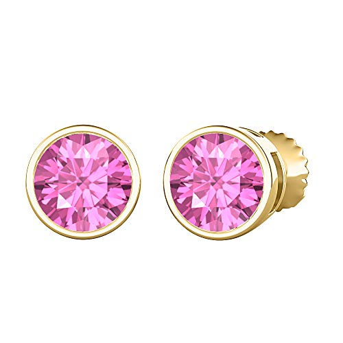 tusakha Bezel Set Round Cut Created Pink Sapphire (3MM) Solitaire Stud Earrings 14K Yellow Gold Over .925 Sterling Silver For Women's
