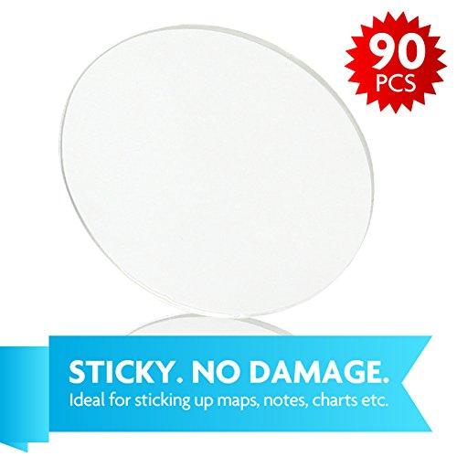 Merkapa 3D Round Clear Removable Large Reusable Dual-Adhesive Dots 10 sheets (90 pcs) (Adhesive Foam Dual Round)