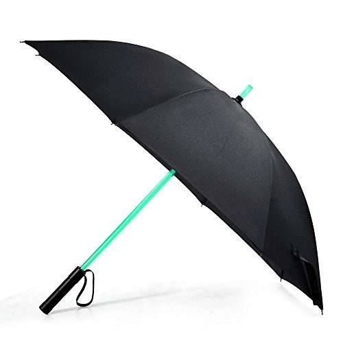 Bestkee LED Lightsaber Umbrella - Laser sword Light up Golf Umbrellas with 7 Color Changing On the Shaft / Built in Torch at Bottom (Black)