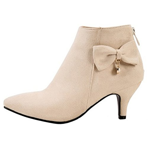 Extra Fashion Size Women Bowknot Kitten Heel TAOFFEN Dress Boots apricot Winter A8Bw5zxxq