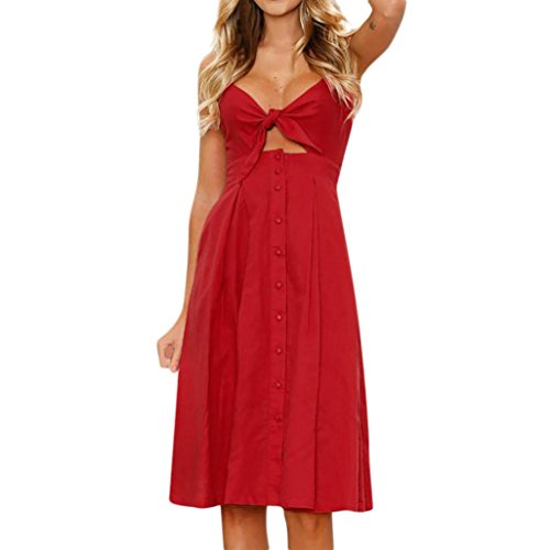 (Clearance Sale! Wintialy Womens Holiday Bowknot Lace up Ladies Summer Beach Buttons Party Dress)