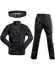 HAOYK Airsoft Paintball Tactical Suits Mannen jachtstrijd BDU Uniform Jacket Camo Shirt & Pants met riem voor het schieten jachtoorlogsspel