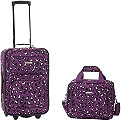 Rockland Luggage 2 Piece Set, Purple Leopard, One Size