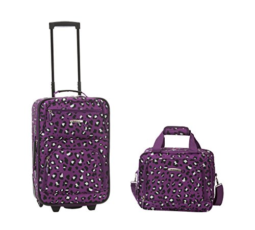 Rockland Luggage 2 Piece Set, Purple Leopard, One - Burgundy On Carry Luggage