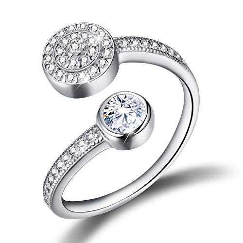 Esberry Cubic Zirconia Ring 925 Sterling Silver Single Zircon Adjustable Ring Jewelry for Women and Girls (Sliver, ()